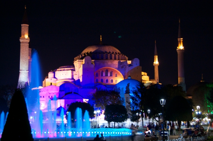 The Blue Mosque, lit up in purple and pink.