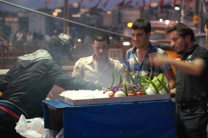 Fish sandwich vendor on the upper level of Galata Bridge.