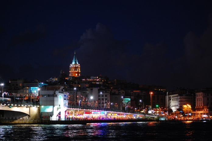 The lights of Galata Bridge.