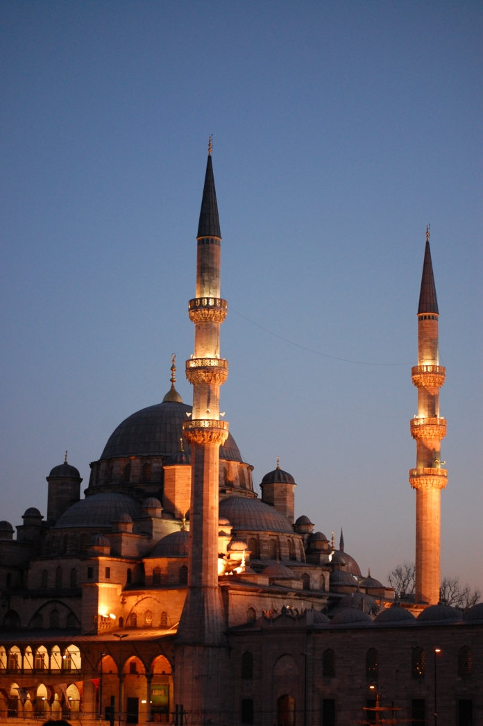 The New Mosque at sunset.