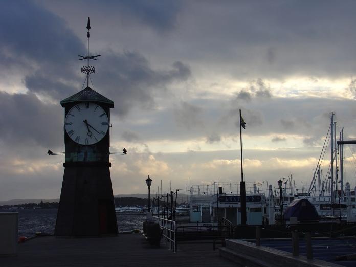Clock tower in Oslo Harbor